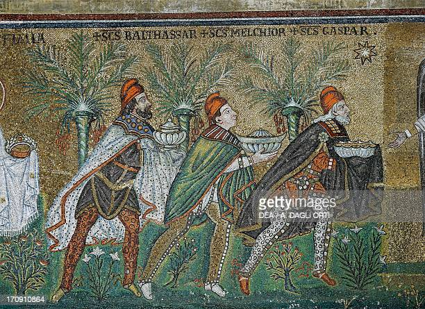 Procession of the Magi detail of the 5th century mosaics Basilica of Sant'Apollinare Nuovo founded 493496 Ravenna EmiliaRomagna Italy