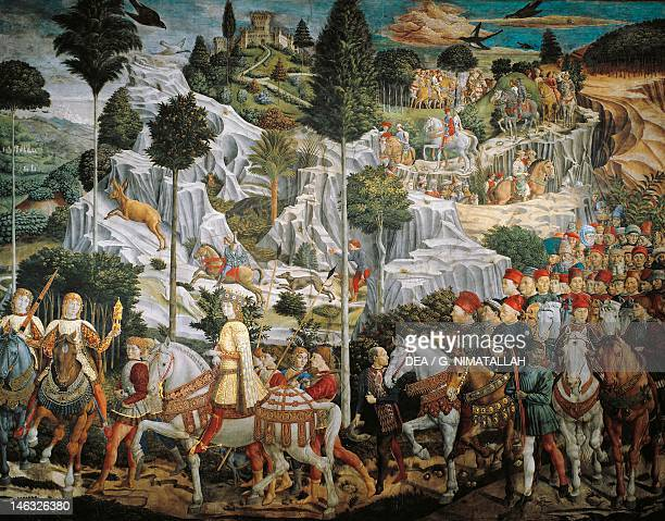 Procession of the Magi Kings to Bethlehem by Benozzo Gozzoli , fresco, tempera and oil on wall. Chapel of Palazzo Medici Riccardi, Florence.