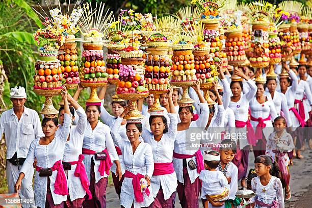 Procession of women with offerings for Temple,Bali