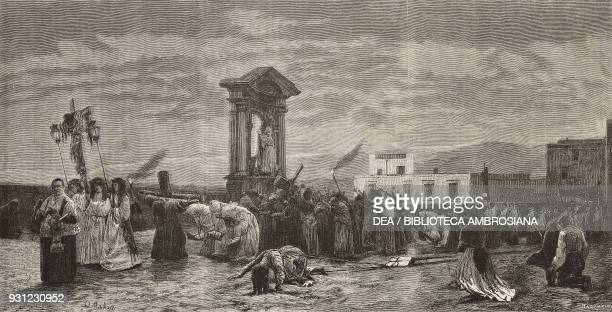 Procession to the Maddalena bridge during the eruption of Vesuvius painting by Francesco Netti drawing by Francesco Paolo Michetti engraving from...