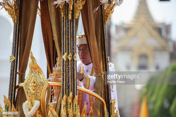 A procession to transfer His Majesty the late King Bhumibol Adulyadejs royal relics and ashes from the royal crematorium in Sanam Luang to the Grand...