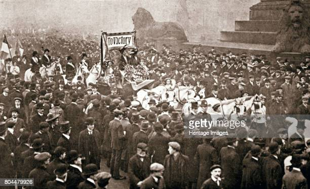 Procession to welcome the early release of suffragettes from prison on 19 December 1908 Procession in Trafalgar Square to welcome Emmeline Pankhurst...