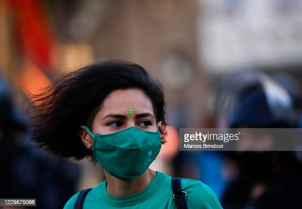 Pro-choice activist looks on during a demonstration in front of National Congress on November 18, 2020 in Buenos Aires, Argentina. President Alberto...