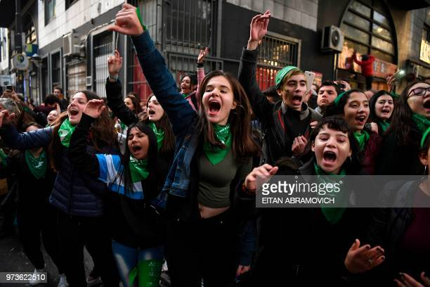 Prochoice activists demonstrate outside the Argentine Congress in Buenos Aires on June 13 calling for the approval of a bill that would legalize...