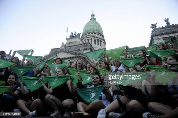 Prochoice activists during a proabortion demonstration in front of the National Congress on February 19 2019 in Buenos Aires Argentina