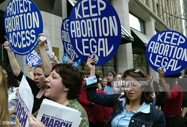 Prochoice activists hold signs as they protest against the PartialBirth Abortion Act of 2003 which US President George W Bush signed into law...