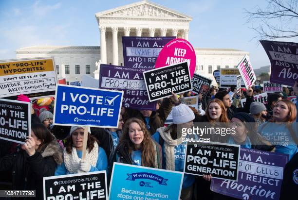 Prochoice activists hold signs in response to antiabortion activists participating in the March for Life an annual event to mark the anniversary of...