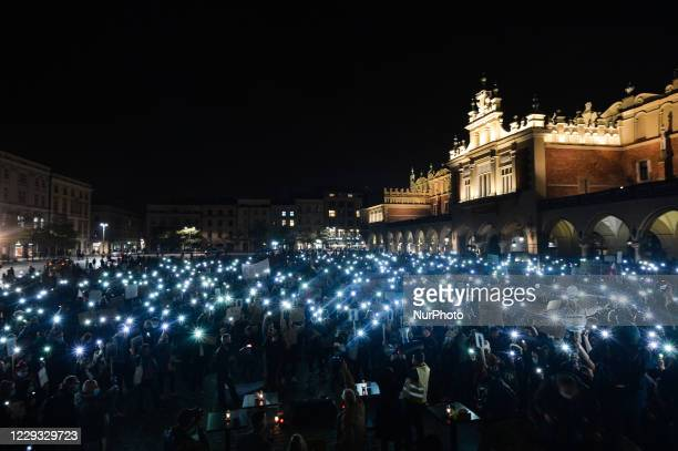 Pro-Choice activists seen during a protest in Krakow's Market Square. Women's rights activists and their supporters staged their seventh day of...