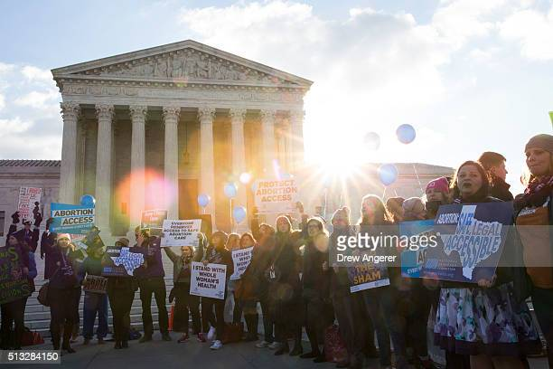 Prochoice advocates rally outside of the Supreme Court on March 2 2016 in Washington DC On Wednesday morning the Supreme Court will hear oral...