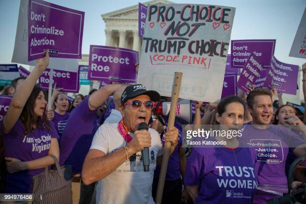 Prochoice and antiabortion protesters demonstrate in front of the US Supreme Court on July 9 2018 in Washington DC President Donald Trump is set to...