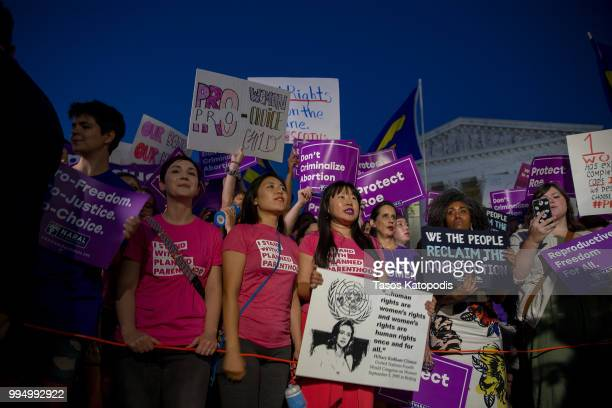 Prochoice and antiabortion protesters demonstrate in front of the US Supreme Court on July 9 2018 in Washington DC President Donald Trump just...