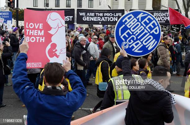 Pro-choice and pro-life activists demonstrate in front of the the US Supreme Court during the 47th annual March for Life on January 24, 2020 in...