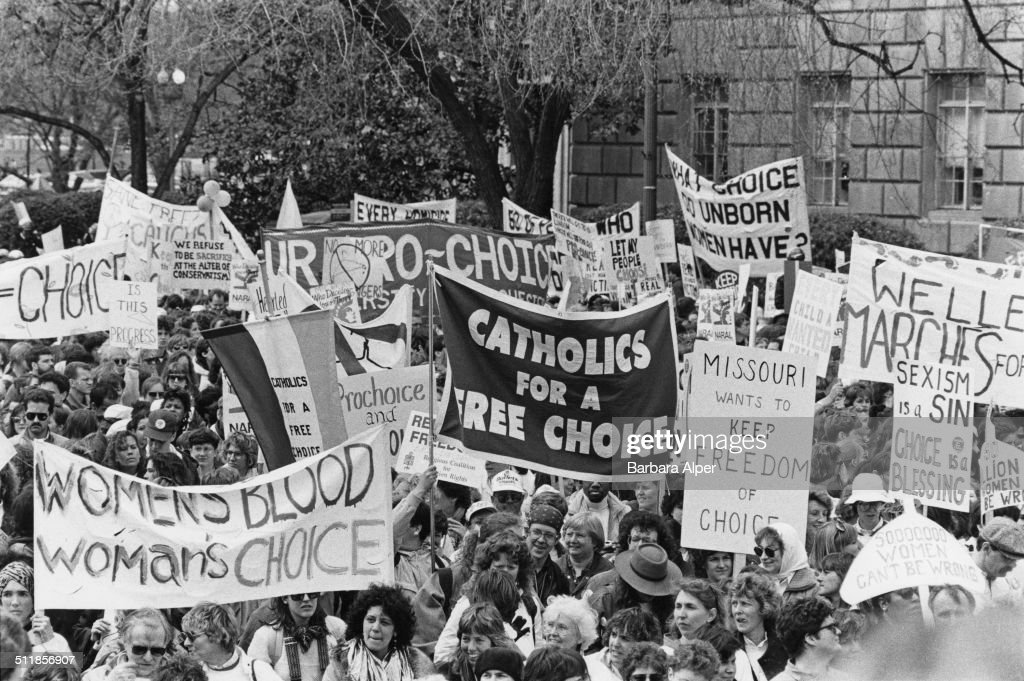 Pro-choice campaigners at a March for Women's Equality in Washington, DC, 9th April 1989.