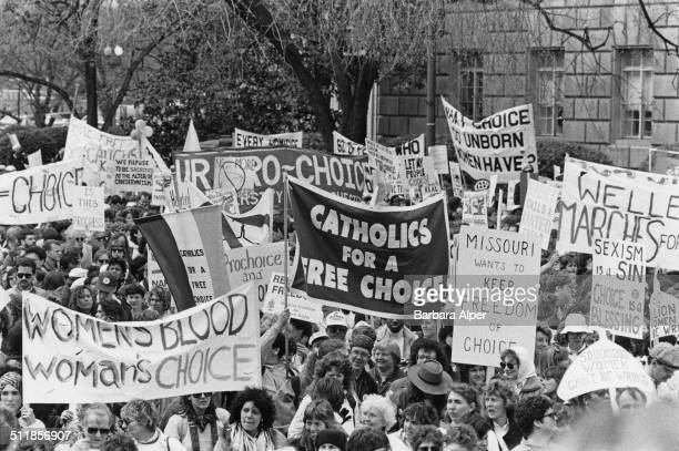 Prochoice campaigners at a March for Women's Equality in Washington DC 9th April 1989