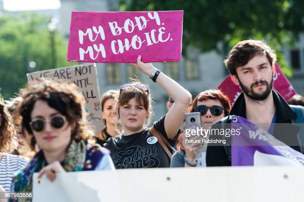 Prochoice campaigners stage a demonstration in Parliament Square in London demanding the British Government decriminalises abortion in Northern...