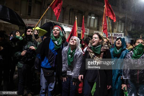 Prochoice demonstrators gather during a protest in Buenos Aires Argentina early on Thursday Aug 9 2018 After months of heated debate Argentine...