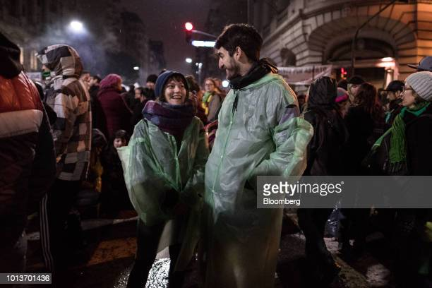 Prochoice demonstrators gather during a protest in Buenos Aires Argentina on Wednesday Aug 8 2018 After months of heated debate Argentine senators...
