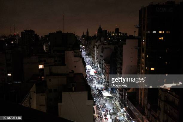 Prochoice demonstrators gather on a street during a protest in Buenos Aires Argentina early on Thursday Aug 9 2018 After months of heated debate...