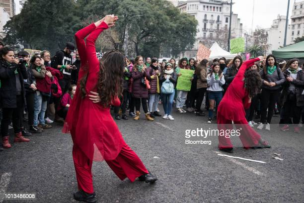 Prochoice demonstrators perform a women's only tango during a protest outside of the National Congress building in Buenos Aires Argentina on...