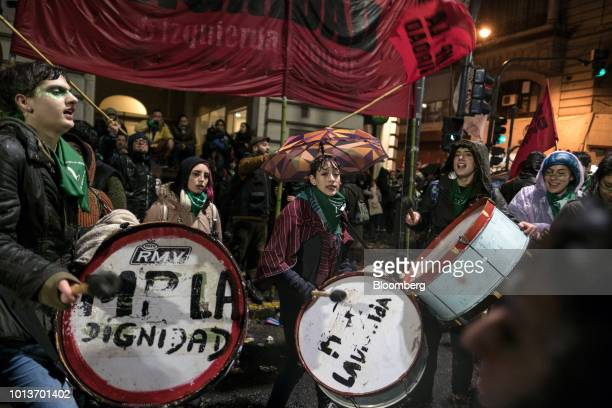Prochoice demonstrators play drums during a protest in Buenos Aires Argentina early on Thursday Aug 9 2018 After months of heated debate Argentine...