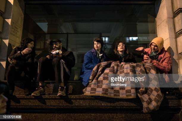 Prochoice demonstrators sit on the side of a road during a protest in Buenos Aires Argentina on Wednesday Aug 8 2018 After months of heated debate...