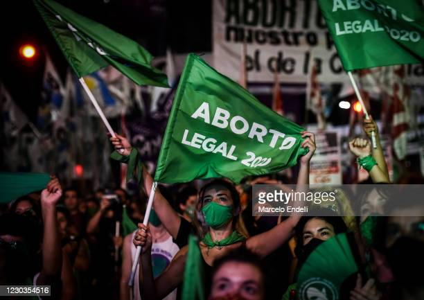 Pro-choice demonstrators wait for the result of vote on December 30, 2020 in Buenos Aires, Argentina. The proposal authorizes legal, voluntary and...