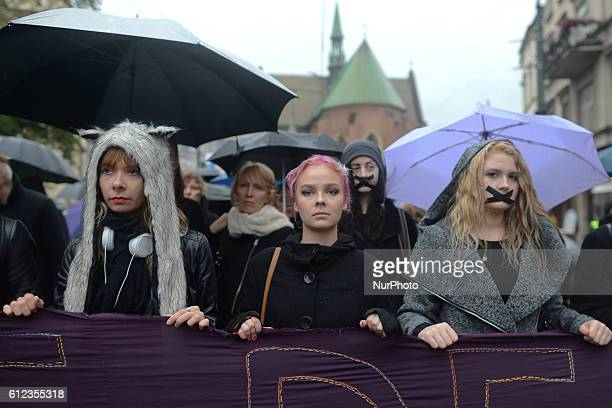 ProChoice protesters in Krakow Main Square as thousands of women protested today in Krakow city center during a 'Black protest' Women nationwide...