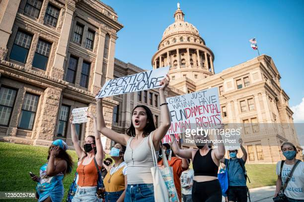 Pro-choice protesters march outside the Texas State Capitol on Wednesday, Sept. 1, 2021 in Austin, TX. Texas passed SB8 which effectively bans nearly...