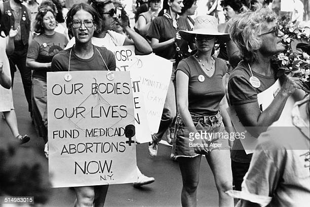 Prochoice protestors at a People's Convention in New York City before the start of the Democratic National Convention 10th August 1980 One woman...