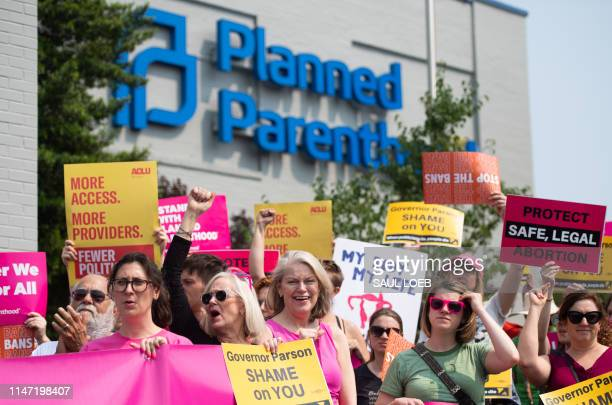 Prochoice supporters and staff of Planned Parenthood hold a rally outside the Planned Parenthood Reproductive Health Services Center in St Louis...