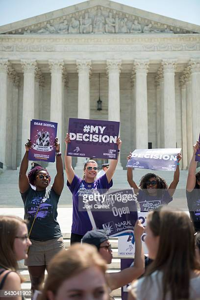 Pro-choice supporters cheering at U.S. Supreme Court