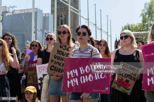 Prochoice supporters stage a demonstration in Parliament Square in London to counter antiabortion 'March for Life' and campaign for women's rights...