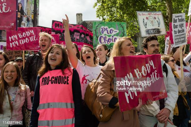 Prochoice supporters stage a demonstration in Parliament Square to campaign for women's reproductive rights legalisation of abortion in Northern...