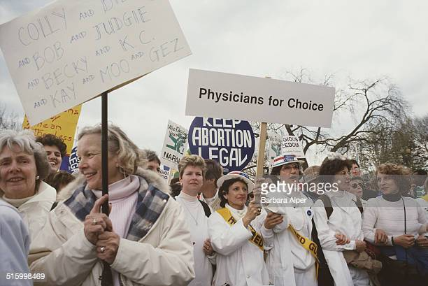 ProChoice supporters take part in a March for Women's Equality in Washington DC 9th April 1989 The Physicians For Choice are amongst the crowd