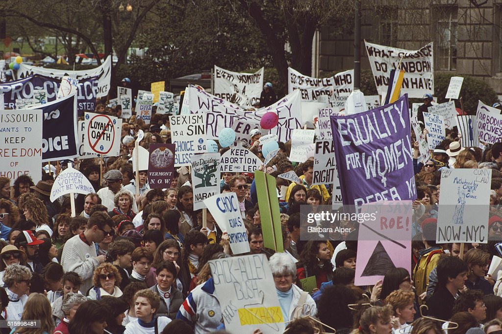 Pro-Choice supporters take part in a March for Women's Equality in Washington, DC, 9th April 1989.