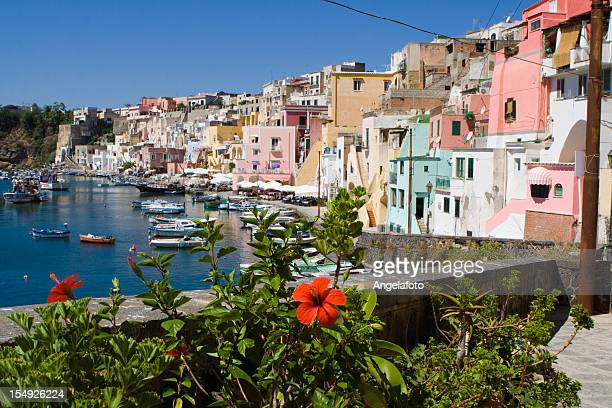 procida, fishermans village in bay of naples, italy - sorrento stock pictures, royalty-free photos & images