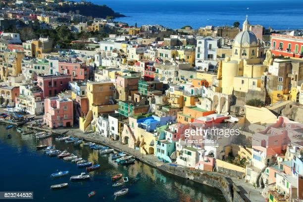 procida, fisherman's village 'la corricella', bay of naples, italy - naples italy stock photos and pictures