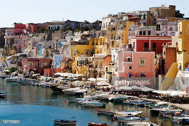 "procida, fisherman's village ""la corricella"", bay of naples, italy - sorrento stock pictures, royalty-free photos & images"