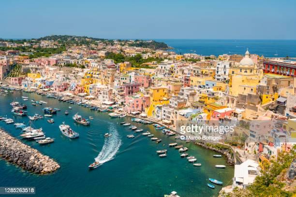 procida island high angle view, italy - naples italie photos et images de collection