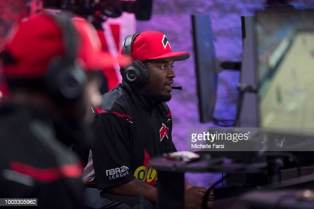Procis1on of Bucks Gaming reacts against Raptors Uprising Gaming Club on July 21 2018 at the NBA 2K Studio in Long Island City New York NOTE TO USER...