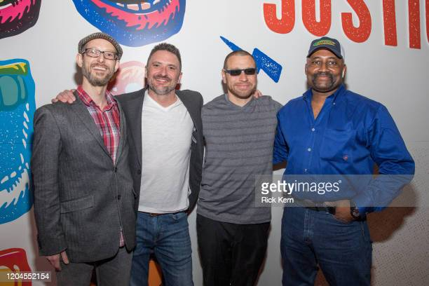 Proclaim Justice Co-Founders Jason Baldwin and John Hardin, Daniel Villegas, and Tim Howard attend the Voices for Justice fundraising event for...