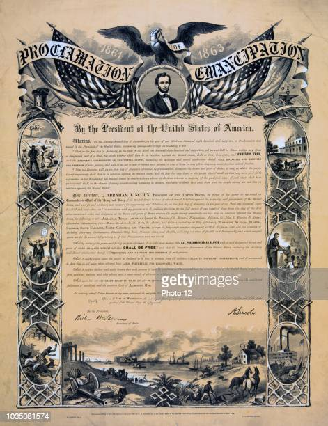 Proclamation of Emancipation by the President of the United States of America' Eagle with banner Proclamation of Emancipation and US flags over...