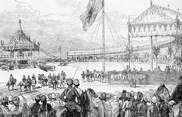Proclamation of Queen Victoria as Empress of India - at the Imperial Durbar at Dehli, 1 January 1877. From illustration from joural of the time. QV:...