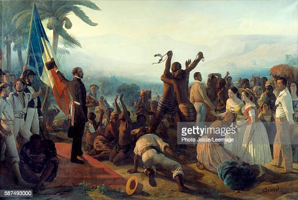 Proclamation of the abolition of slavery in the French colonies 23 April 1848 Painting by François Auguste Biard 19th century 261 x 3 91 m Castle...
