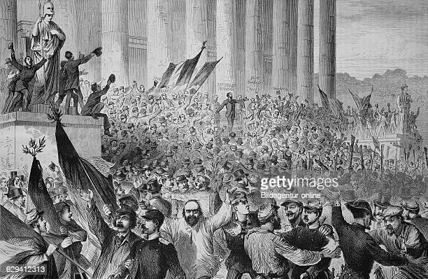 Proclamation of the french republic by gambetta in front of the palace of the legislative body in paris on 4 september 1870 illustrated war history...