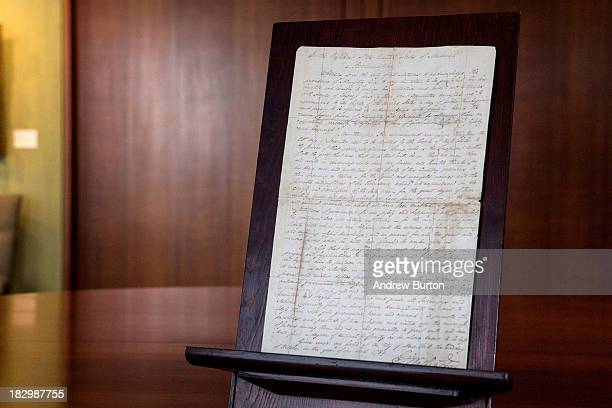 A proclamation written by George Washington the first President of the United States is displayed at Christie's Galleries prior to being auctioned on...