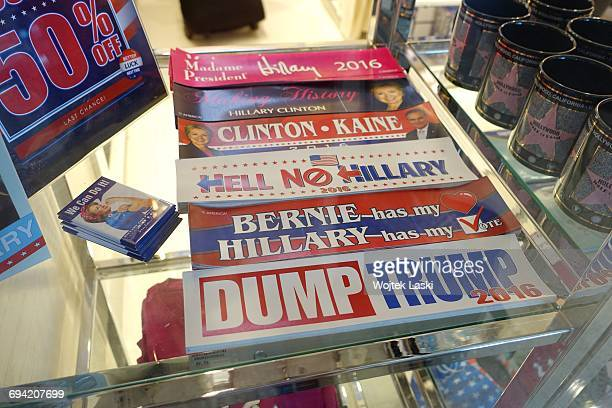 ProClinton election bumper stickers on sale in a gadget and souvenir shop in Los Angeles USA January 2017 Trump merchandise is heavily in demand in...