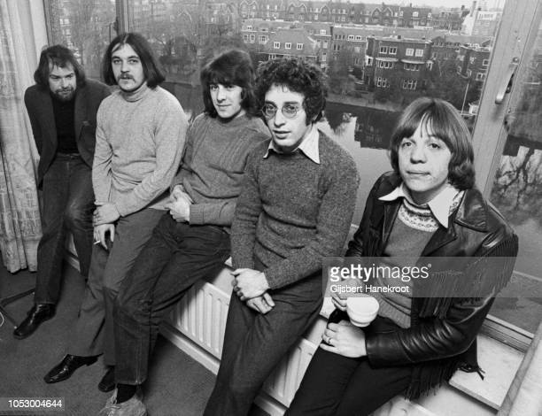 Procol Harum group portrait at the Amsterdam Hilton Hotel Netherlands 1970 LR Chris Copping Gary Brooker BJ Wilson Keith Reid Robin Trower