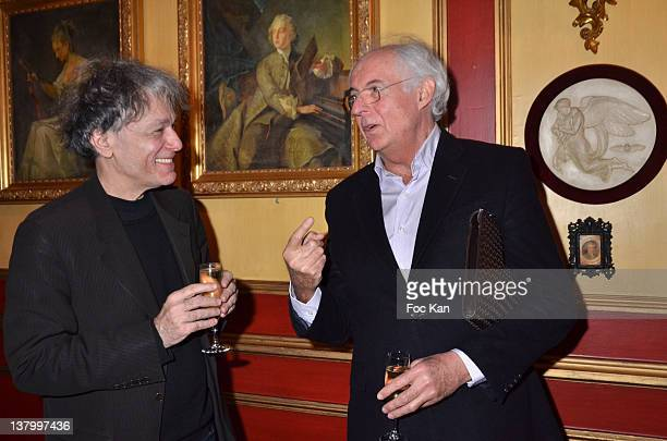Procope 2012 award recipient writer Ruwen Ogien and Roger Pol Droit attend the Procope Des Lumieres' Literary Awards First Edition at the Procope on...