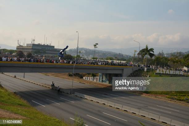 Procoup supporters gather on the Altamira distributor road in Caracas Venezuela April 30 2019